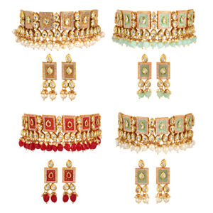 Indian Bollywood Gold Plated Kundan Chokers Traditional Necklace set for Women