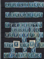 France : 60 exemplaires du no 14 pour nuances de bleu , avec très bien margés ,