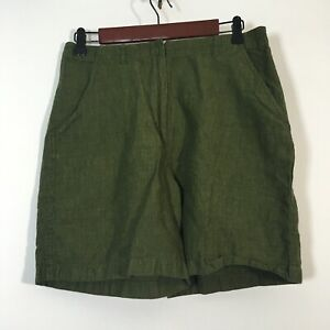 Crossroads Shorts Women Size 10 Green Linen Blend Chino