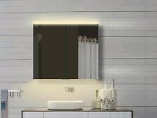 Alu Badezimmer Spiegelschrank Bad LED Licht Warm & Kalteiß mit Steckdose 80x70cm