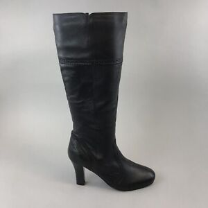 Unbranded Black Leather Knee High Zip Up Brogues Booties Boots 38 UK5