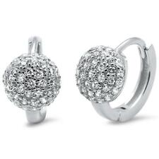 .925 Sterling Silver Earring Micro Pave Cz Hoop