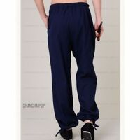 Men Tai Chi Trousers Gym Kung Fu Pants Martial Arts Sports Loose Black/Gray/Blue