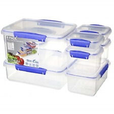 Sistema KLIP IT Collection Food Storage Containers, Clear/Blue, 16-Piece Set