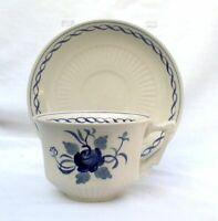 THREE Adams Baltic Blue Ironstone Cream White Rose Flower Cup Saucer Sets