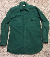 Vintage Mens LL Bean Heavy Flannel Green Shirt, Size M
