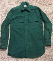 Vintage Mens LL Bean Heavy Flannel Green Shirt, Size M