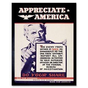 Propaganda Political Appreciate America Fbi Spy Enemy 12X16 Inch Framed Print