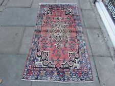 Shabby Chic Worn Vintage Hand Made Traditional Pink Blue Wool Long Rug 176x93cm