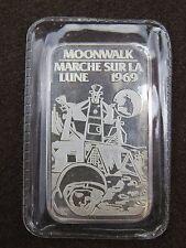1 oz SILVER ART BAR JM JOHNSON MATTHEY MOONWALK MARCHE SUR LA LUNE 1969 #000177