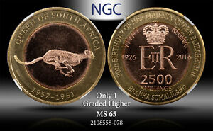 2016 SOMALILAND 2500 SHILLINGS CHEETAH NGC MS65 ONLY 1 GRADED HIGHER #C
