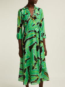 DIANE VON FURSTENBERG DVF Full Length Palm Windsor Floral Green Wrap Dress