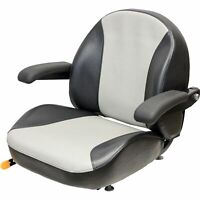 K & M Garden/Lawn Tractor Seat with Folding Armrests - Black/Silver Vinyl 8467
