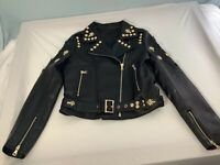 Acne Studios Sheepskin Croptop Black Leather Jacket Gold Hardware Women's XL NEW