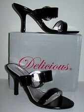 Brand New SEXY Black Patent Leather Slides~Heels~Sz 7.5 M~MIB~DROP DEAD GORGEOUS