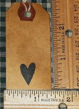 25 SMALL ~ MINI HEART ~ PRIMITIVE COFFEE STAINED HANG TAGS LOT (202)