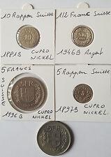 Monnaies Suisse 5 Francs x2,10 Rappen,5 Rappen,1/2 franc Argent