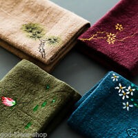 Chinese tea towel cotton & linen towel absorbent flower printing cleaning cloth