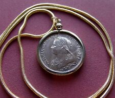 """XF+ 1900 English Queen Victorian 1/2 Penny Pendant 24"""" Gold Filled Round Chain"""