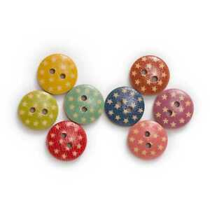 50pcs Star Printing Wooden Buttons for Scrapbooking Sewing Handwork Decor 15mm