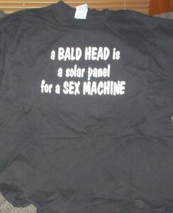 A BALD HEAD IS A SOLAR PANEL FOR A SEX MACHINE T-SHIRT BLACK XL