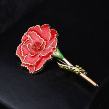 Red Flower Shape Women Mother Gift Enamel Brooch Carnation Pin Fashion Jewelry