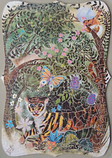 """VINTAGE ERIC PEDLEY WOODEN JIGSAW PUZZLE. """"TIGER"""" 387-PIECES"""