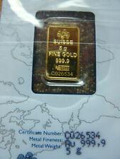 5 Grams PAMP Gold Bar, Factory Sealed .9999 Fine