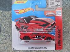 Hot Wheels 2015 #154/250 CUSTOM 2015 FORD MUSTANG red HW RACE Case P New Casting