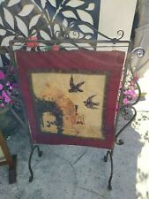Vintage Tapestry Beaded Birds Fire Screen Guard Wrought Iron