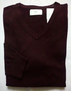 THE BASICS Herren Pullover Gr.XXL Baumwolle 100% d.-bordeaux Melange V-neck NEU