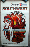Vintage Original 1970s AMTRAK Southwest Travel Poster railway art train airline