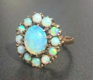 Simulated Opal 925 Sterling Silver Yellow Gold Plated Women Party Handmade Ring