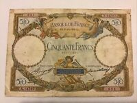 Banque De France. France Banknote. 50 Francs. Dated 1933. French Vintage Note.