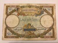 Banque De France. France Banknote. 50 Francs. Dated 1933. French Vintage Note.