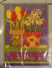 """Small 12 1/2"""" x 18"""" Frog With Flowers Spring Theme Garden Art Flag New In Packag"""