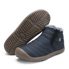 Men's Women's Ankle Snow Boots Winter Warm Fur Lining Slip On Flat Shoes US