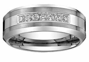 Men's Tungsten Carbide Diamond wedding band Anniversary Ring 8mm wide 0.25 Ct