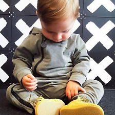 UK Fashion Baby Barboteuse à manches longues bébé garçon vêtements enfants Combinaison Gris