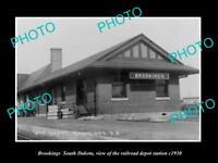 OLD LARGE HISTORIC PHOTO OF BROOKINGS SOUTH DAKOTA, RAILROAD DEPOT STATION c1930