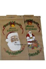Pair of Santa Claus Burlap Banners Merry Christmas Holiday Decoration 16x30