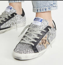 Golden Goose Superstar Sneaker Silver Glitter/Leopard Star Sz 35 Nib