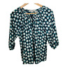 Ann Taylor Loft Womens Top Crew Neck 3/4 Puff Sleeves Work Blouse Size Small