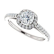1.00 Carat Cushion Moissanite Forever One Halo Style Ring 14K Charles&Colvard