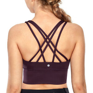 CRZ YOGA Women Yoga Sports Bra Longline Wirefree Padded Medium Support Bra Top
