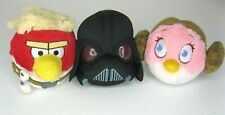 "LOT OF 3 Star Wars Angry Birds 5"" Plush Toys Luke Skywalker, Darth Vader, Leia"