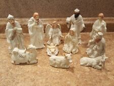 Home For The Holidays White Porcelain Gold Trim Nativity 12 Pc Set w Wood Base