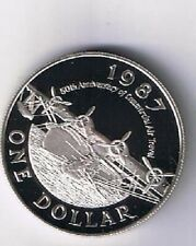 Bermuda 1987 $1 Amphibious Plane Large Silver Proof - Mtg=5000
