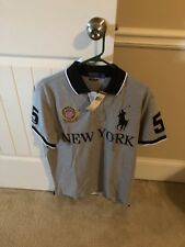 Ralph Lauren Men Grey Custom Fit Large Polo Rugby Shirt New York Big Pony S/S