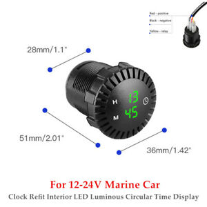 1PC 12-24V Car Clock Refit Interior LED Luminous Circular Time Display Universal